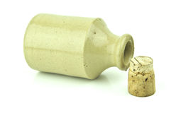Stoneware bottle with cork out Stock Photo