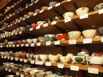 Stoneware - Bowls. Beautiful stoneware available at Kappabashi Street, which is the heart of Kitchenware Town in Tokyo, Japan Royalty Free Stock Image