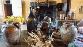 Stoneware in the kitchen at Château Courmatin in France Stock Images
