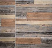 Stoneware panels with natural wood effect used for rustic interior walls stock images