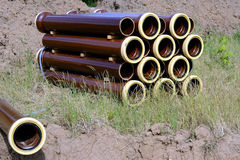 Stoneware pipes. Channel build with stoneware pipes Stock Photos