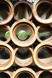 Stoneware pipes. Vitrified clay pipes at a construction site Royalty Free Stock Photo