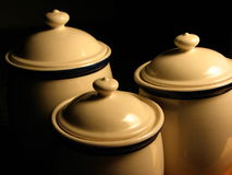 Stoneware Pots. Some stoneware pots of different sizes stock image