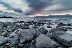 Stonewater. A wide angle shot of Norways greates lake in winter Stock Photo