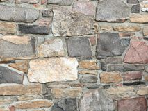 Stonework in rows with mortar in many colors. Stonework in rows with mortar in browns reds and grays Stock Image