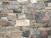 Stonework in rows with mortar in many colors. Stonework in rows with mortar in browns reds and grays Stock Photography