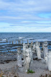 Stonework statues leading into the St. Laurence River Stock Images