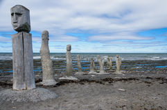 Stonework statues leading into the St. Laurence River Stock Photography