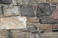 Stonework wall in rows with mortar in many colors. Stonework wall in rows with mortar in browns and grays Royalty Free Stock Photography