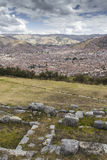 Stonework of the walls of Sacsayhuaman, in Cusco, Peru Royalty Free Stock Images