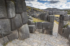 Stonework of the walls of Sacsayhuaman, in Cusco, Peru Royalty Free Stock Photo