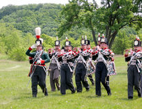 Stoney Creek Battlefield band marches 2009. Marching band in time of the reenactment of War of 1812 at Stoney Creek Ontario, Canada Royalty Free Stock Photography