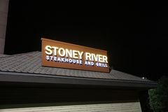 Stoney River Steakhouse and Grill, St. Louis, Missouri. Stoney River Steakhouse sells prime steaks, seafood, and other American food fare stock photo