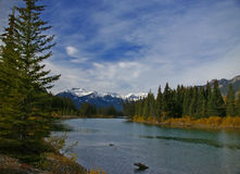 Stoney Squaw Mountain, with Bow River. And autumn forests, Canadian Rockies, Banff,Alberta, Canada Stock Image