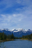Stoney Squaw Mountain, with Bow River Stock Photos