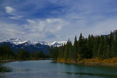 Stoney Squaw Mountain, with Bow River. And autumn forests, Canadian Rockies, Banff,Alberta, Canada Royalty Free Stock Images