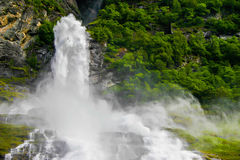 Stong waterfall. Strong wild waterfall in Norway Stock Photo