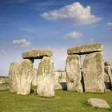 Stonehenge on a Lovely Summer Day. Stonhenge, Wiltshire, showing the trilithons with lintels, under a beautiful summer sky royalty free stock images