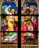 Stoning of Martyr Saint Stephen. Detail of stained glass window depicting the stoning to death of the christian martyr Saint Stephen. Cologne Cathedral,  North Stock Photo
