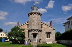 Stonington, CT: 1840 Old Stone Lighthouse Museum Stock Photography