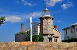 Stonington, CT: 1840 Old Stone Lighthouse Museum Royalty Free Stock Images