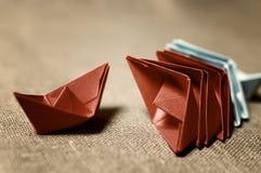 Stonowane barwione papierowe łodzie szklane Obraz Stock