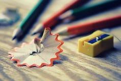 Stonowany ołówkowej ostrzarki grata drewno zdjęcia royalty free