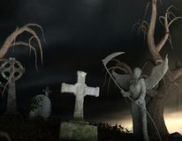 Stony Angel of Death in a spooky cemetery. At night - 3d rendering stock illustration