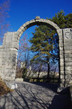 Stony arch at the entrance of the. `Bishop`s Castle` in Vittorio Veneto, Italy royalty free stock images