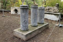 Stony artefacts in Ancient Agora of Athens. Greece Royalty Free Stock Photo