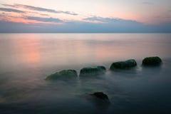 Stony Baltic Sea beach  in evening Stock Photo