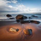 Stony Baltic Sea beach  in evening Royalty Free Stock Photo