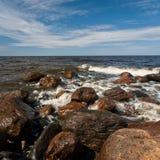 Stony Baltic Sea beach  in evening Stock Photography