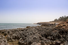 Stony Beach. Seashore of The Mediterranean Sea in Tukrah, Libya Stock Photos
