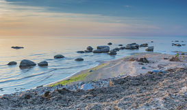 Stony beach of the gulf of Riga in Kurzeme district, Latvia Royalty Free Stock Image