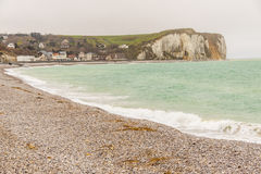 Stony beach and rocky coastline in north France - Veulettes s-Me Royalty Free Stock Photography