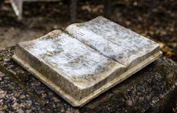 Stony book sculpture on the old gravestone Stock Photo