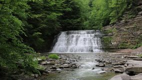 Stony Brook gorge with waterfalls. Stony Brook State Park, New York stock video