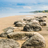 Stony on coast of Baltic sea early in  morning Stock Photography