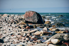 Stony coast of Baltic sea Stock Photos