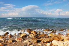 Stony coast Mediterranean sea Royalty Free Stock Image