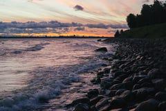 Stony coastline of Baltic sea and Tallinn city Stock Image