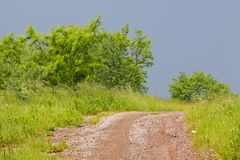 Stony and dirty rural road among meadows and bushes under dark s Royalty Free Stock Photo