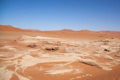 Stony Ground and Dunes in Namib Desert, Namibia Stock Photo