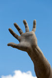 Roma - Piazza Navona. The stony hand against the background of the sky. Roma - Piazza Navona square, Italy. Detail of the Fountain of the Four Rivers, showing of Stock Image