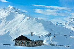 Stony house and Alps winter view Stock Photography