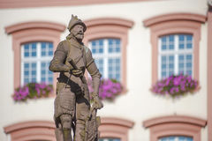 The Stony Knight on the Röhr Fountain in Gengenbach. The Stony Knight on the Röhr Fountain in Gengenbach, Black Forest, Baden-Wuerttemberg, Germany, Europe Stock Photo