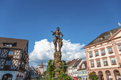 The Stony Knight and the town hall in Gengenbach Royalty Free Stock Photos