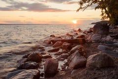 Stony lake shore Royalty Free Stock Photo