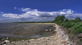 Stony lakeshore. Panoramic view of stony lakeshore Royalty Free Stock Photography